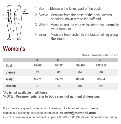 Sizing Chart: Women's   Montbell